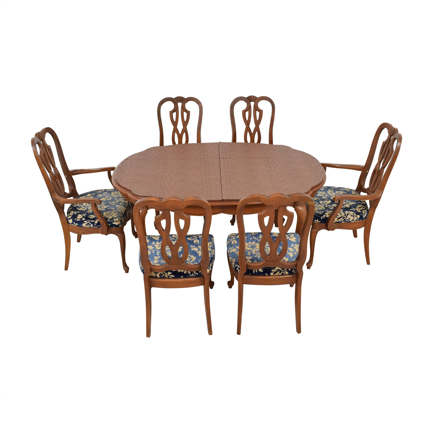 Wood Extendable Dining Set with Six Comfort Crafted Upholstered Chairs nyc