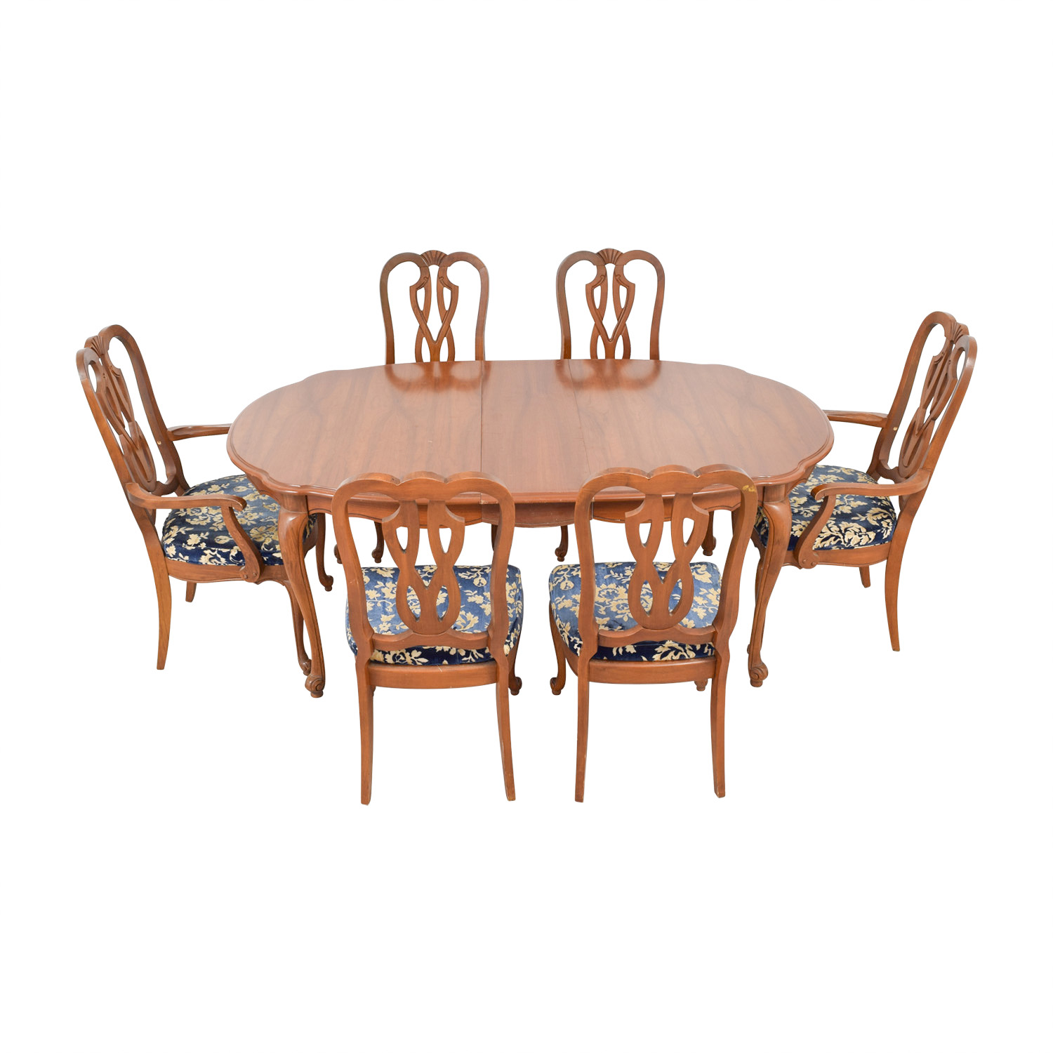 Wood Extendable Dining Set with Six Comfort Crafted Upholstered Chairs Tables