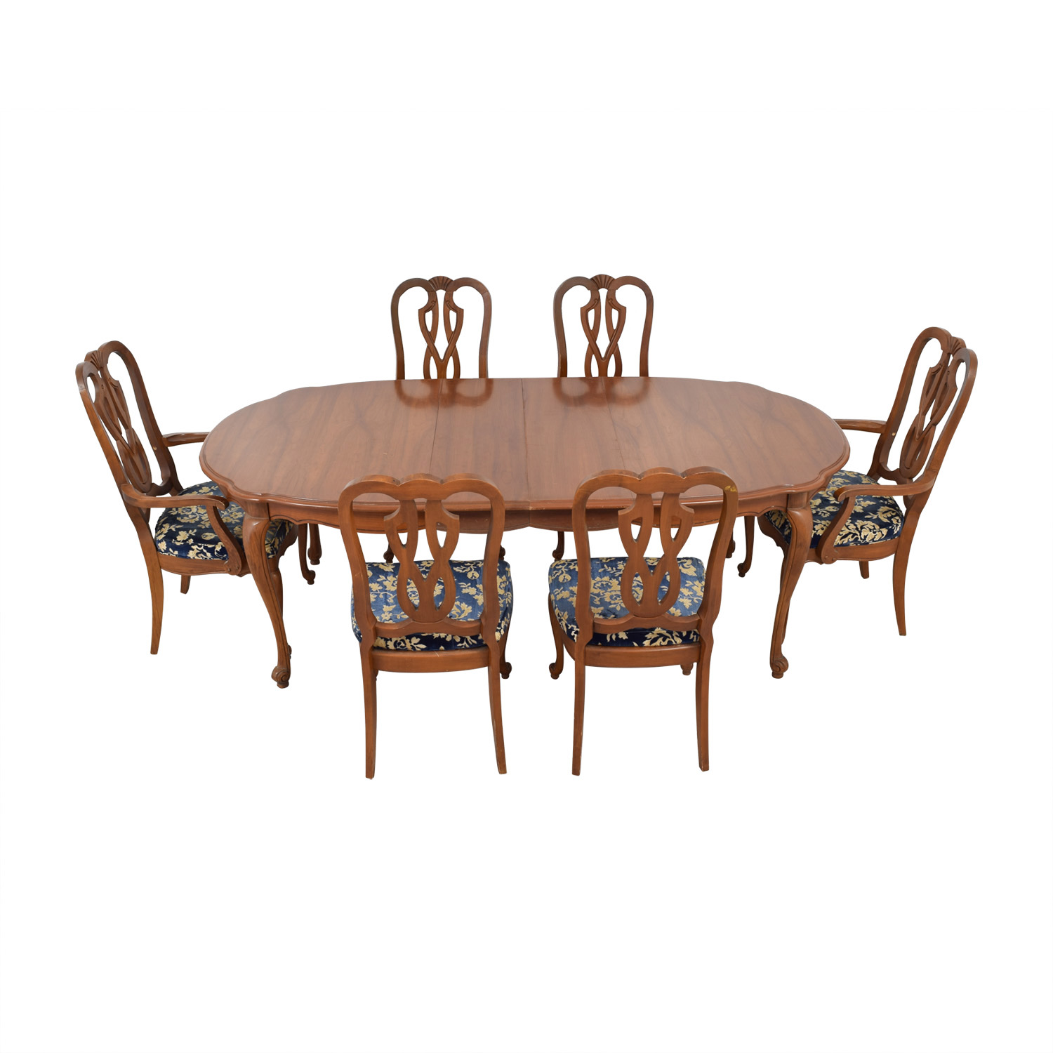 shop Wood Extendable Dining Set with Six Comfort Crafted Upholstered Chairs