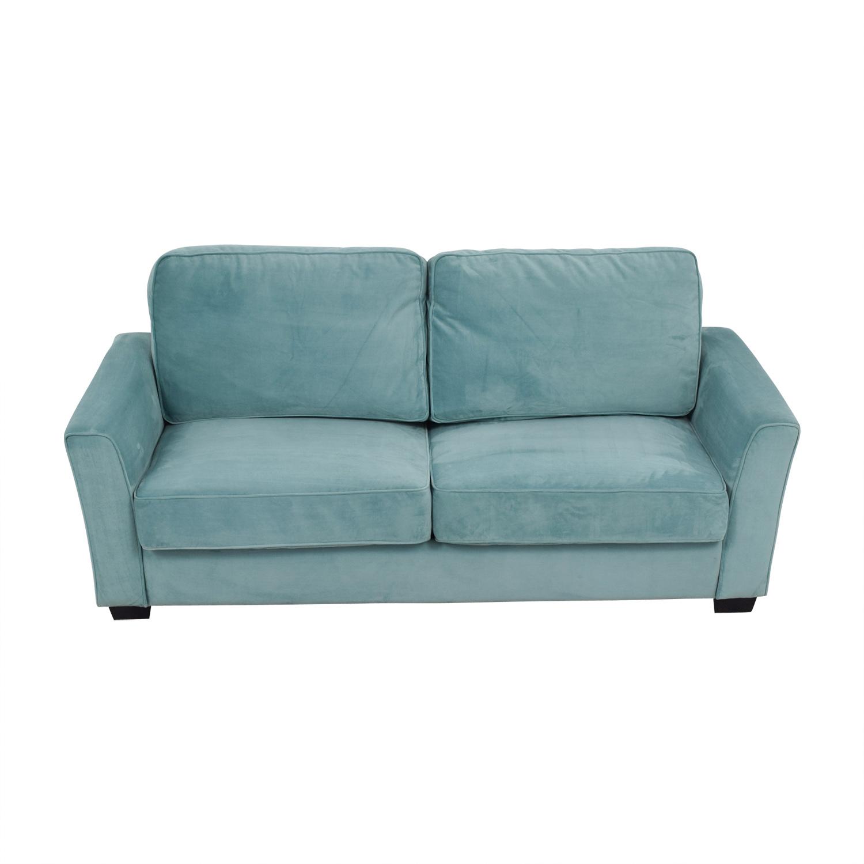 Turquoise Suede Two-Cushion Sofa nj