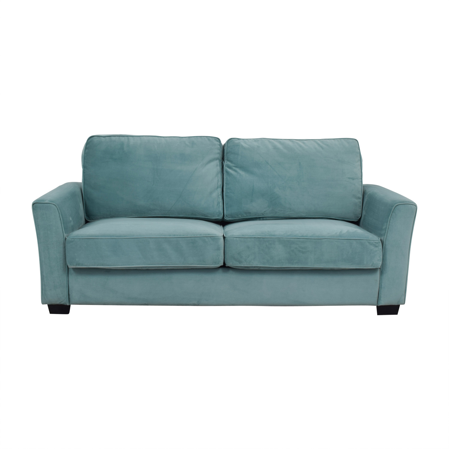 Turquoise Suede Two Cushion Sofa Second Hand