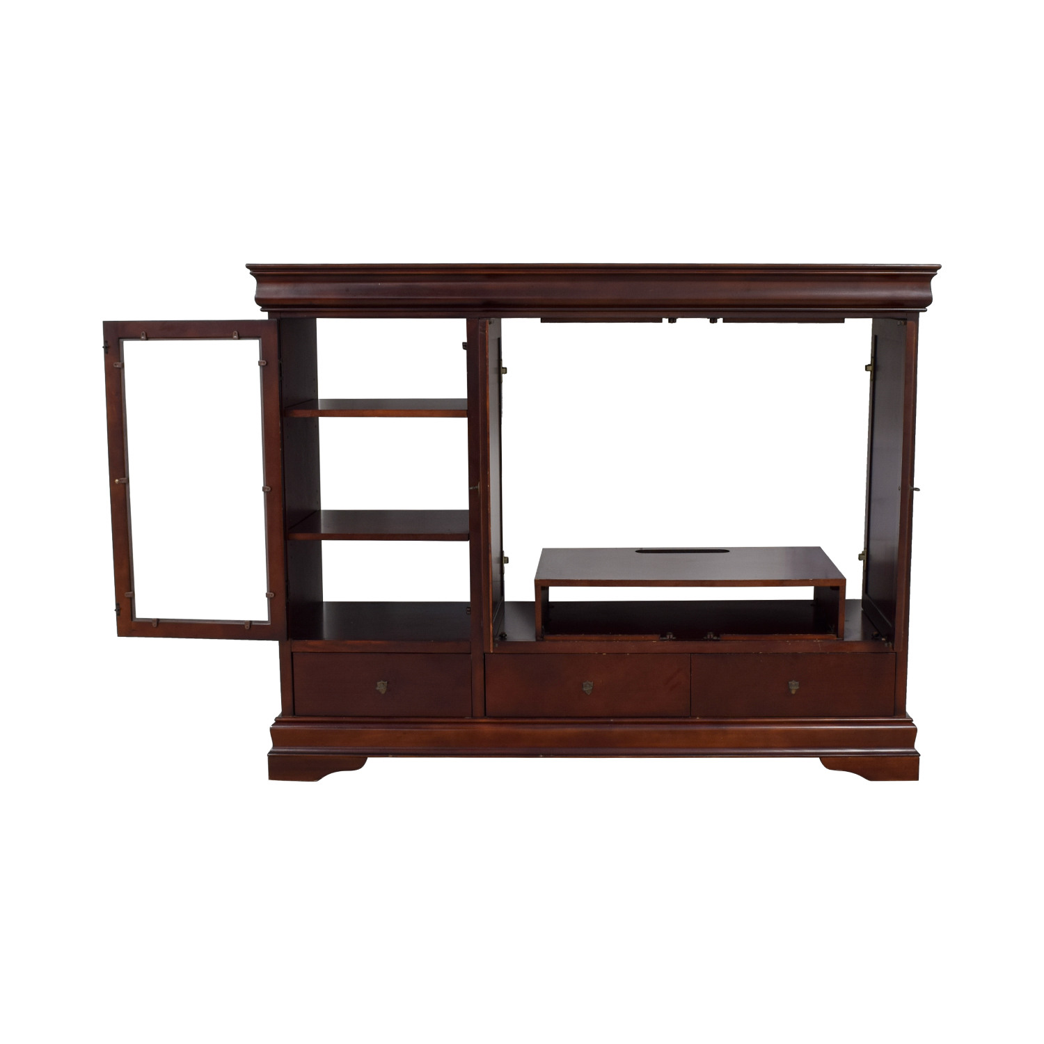 buy Wood Media Center with Curio and Storage Cabinet  Storage