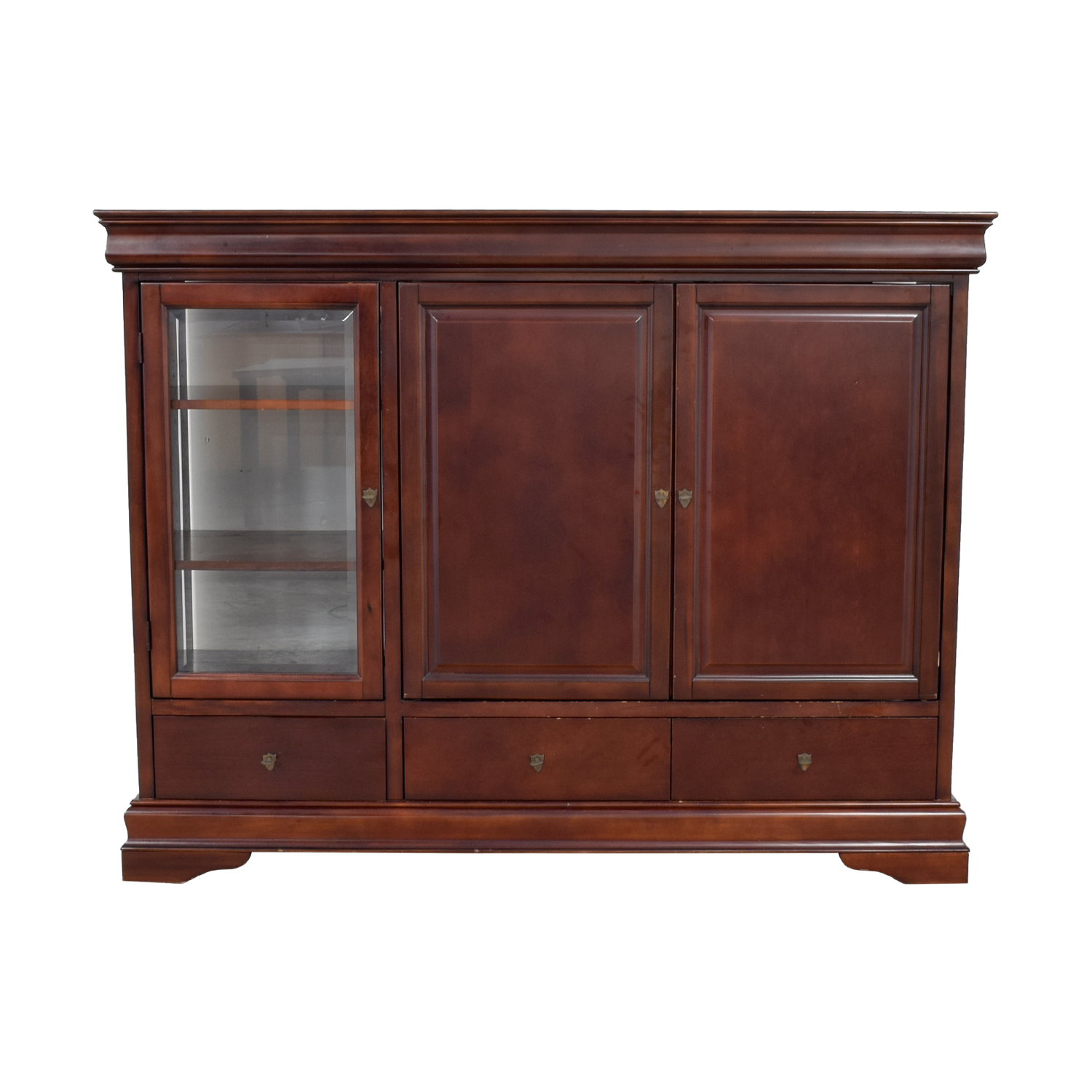 buy Wood Media Center with Curio and Storage Cabinet