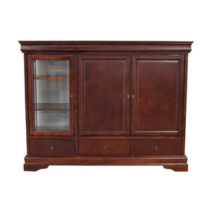 shop Wood Media Center with Curio and Storage Cabinet