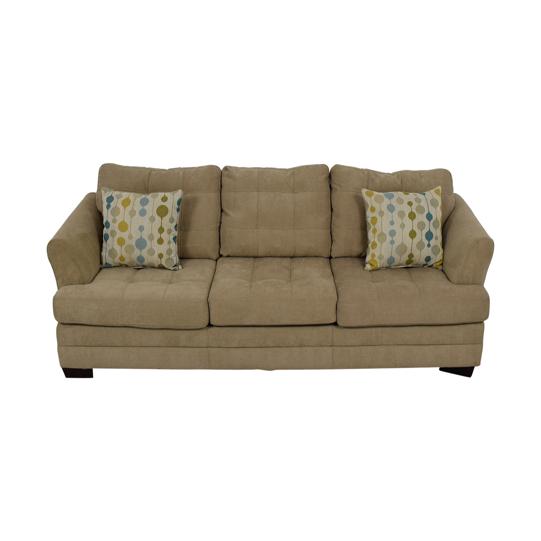 Raymour and Flanigan Raymour & Flanigan Beige Tufted Three-Cushion Sofa