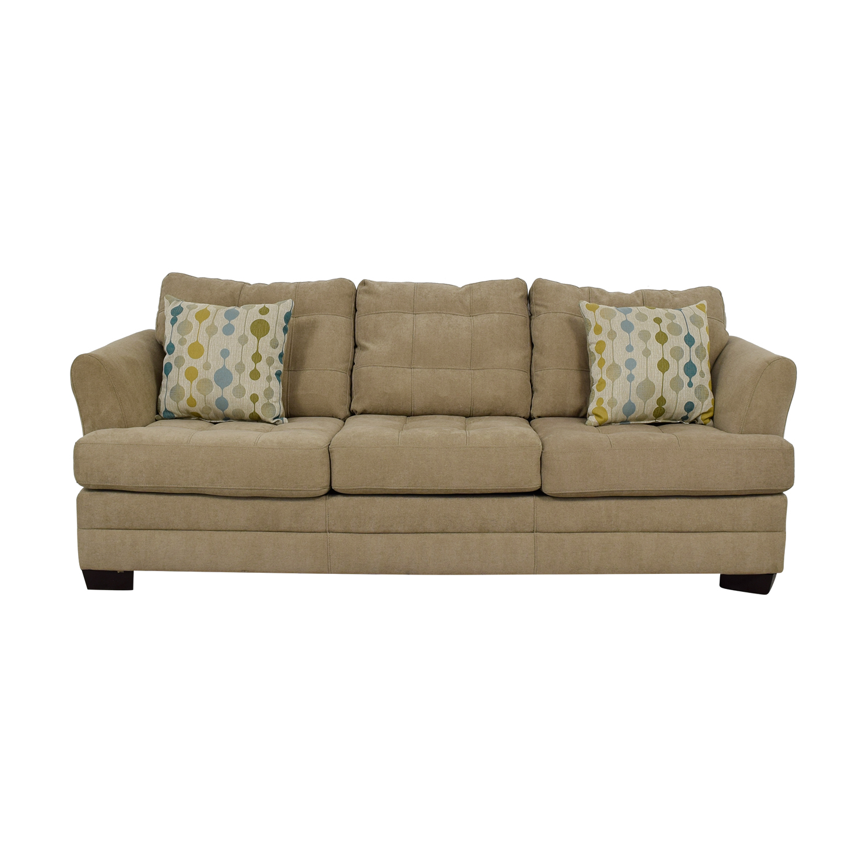 Raymour and Flanigan Raymour & Flanigan Beige Tufted Three-Cushion Sofa dimensions