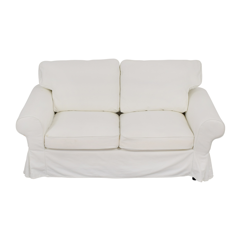 IKEA IKEA Ektorp White Skirted Two-Cushion Loveseat dimensions