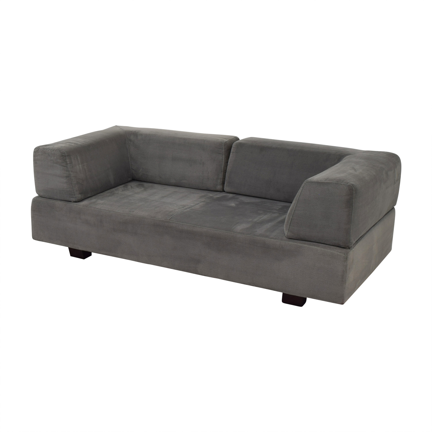 ... Shop West Elm Tillary Herringbone Charcoal Faux Suede West Elm Sofas ...