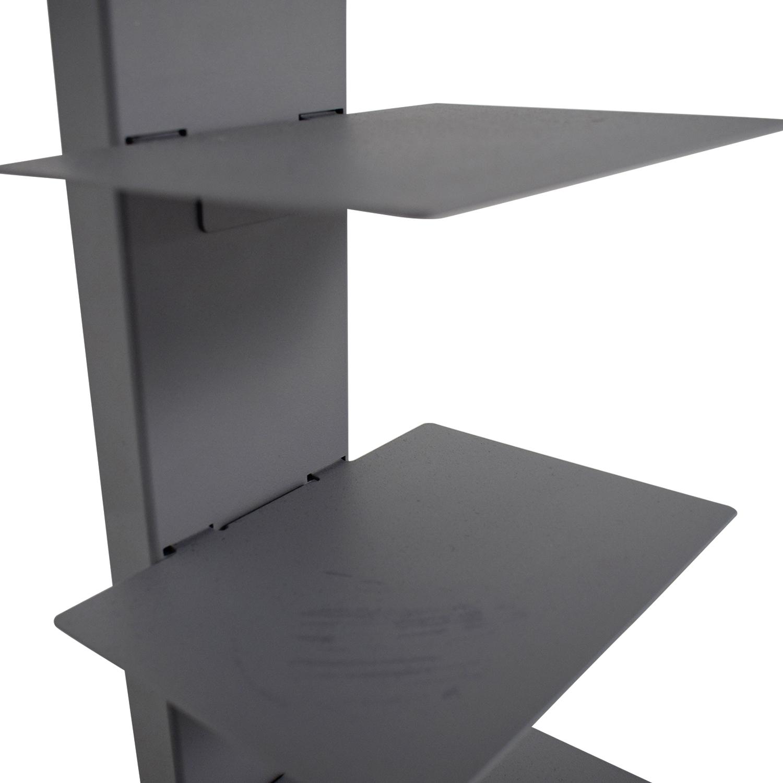 Vertical Grey Metal Bookcase