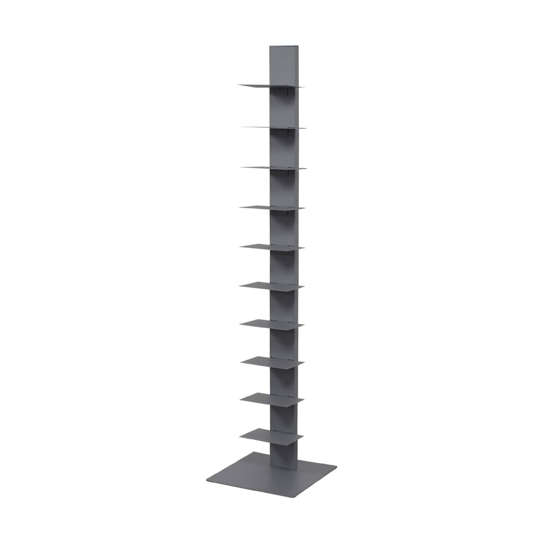 Vertical Grey Metal Bookcase used