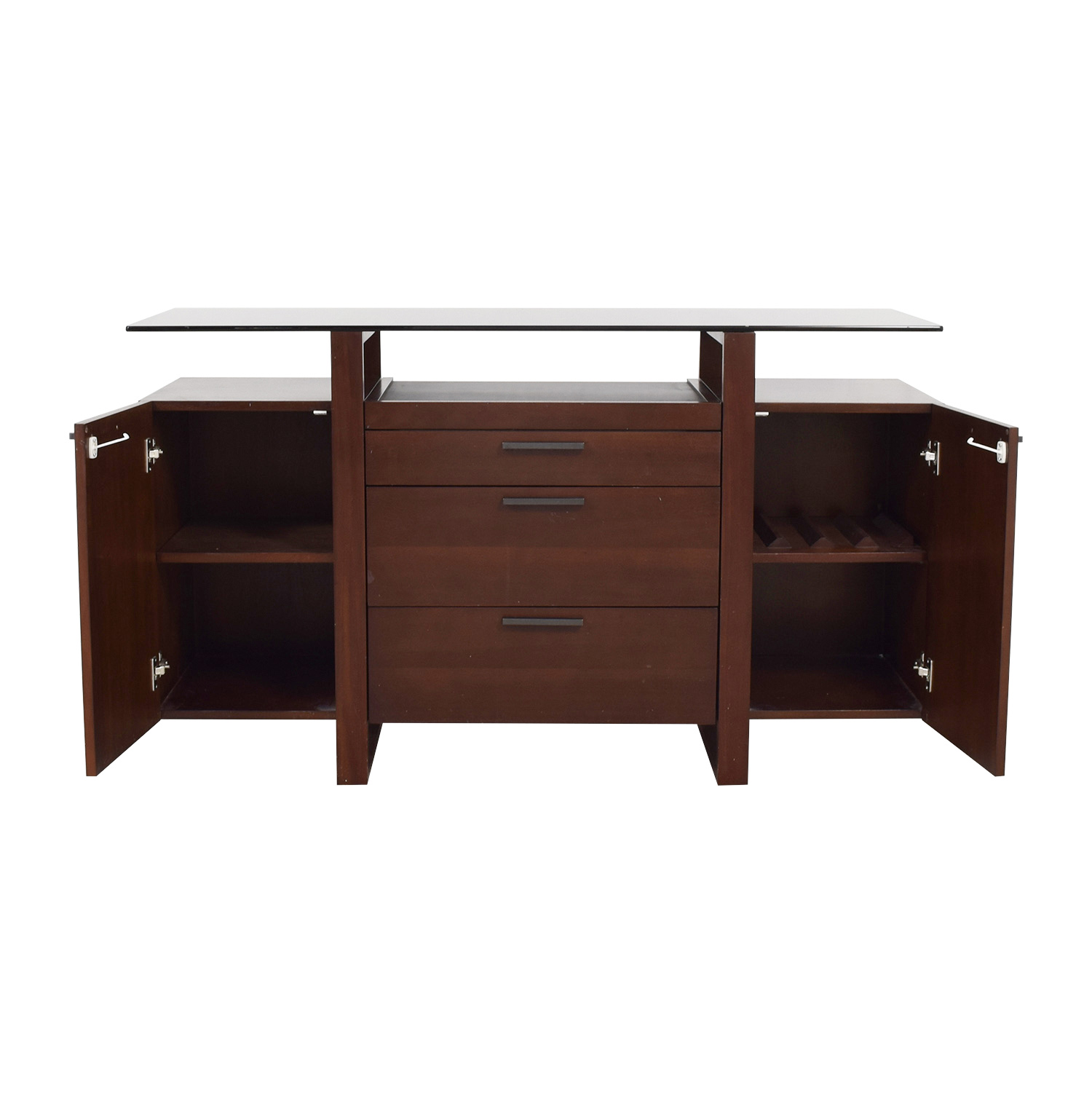 Casana Casana Wood and Smoked Glass Buffet