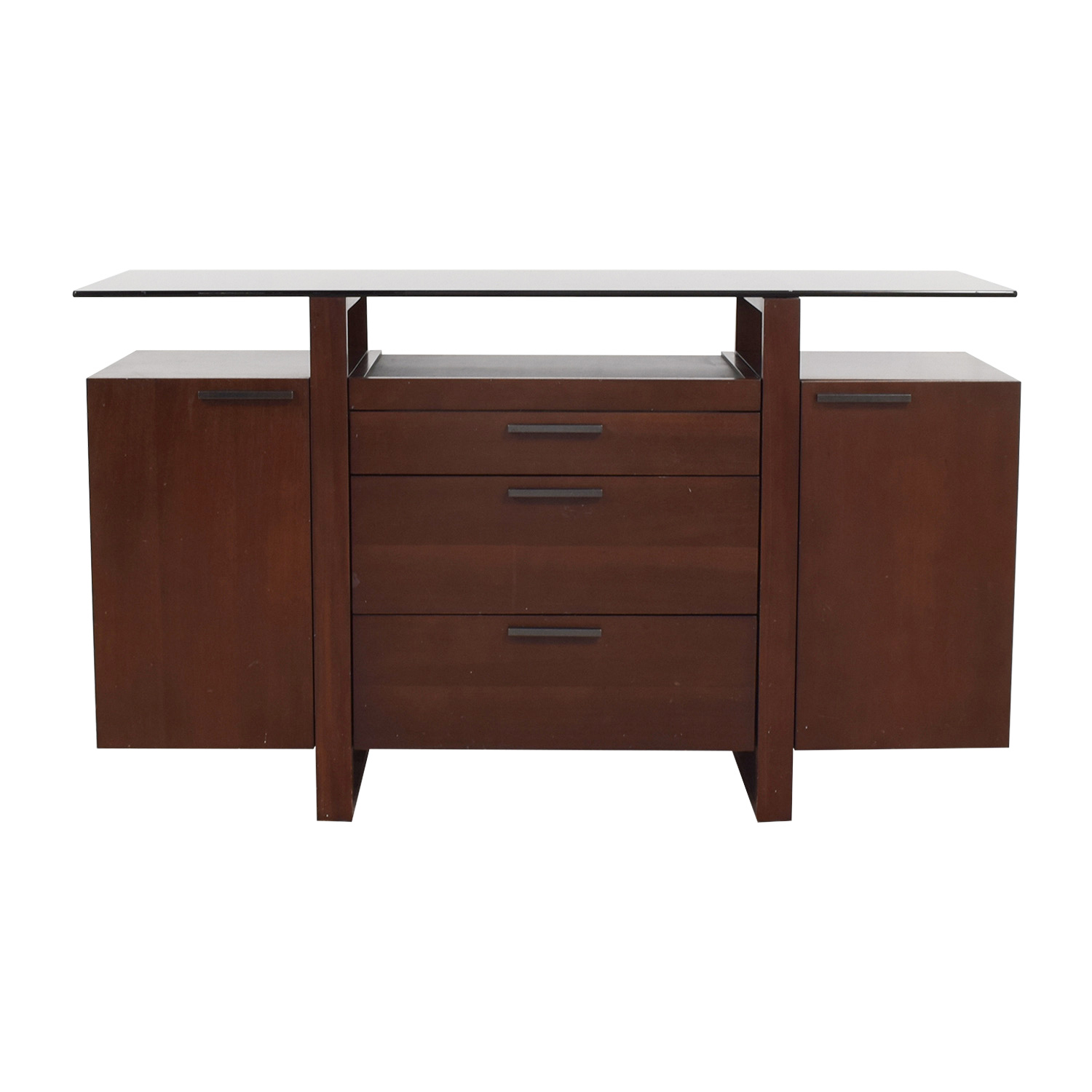 Casana Casana Wood and Smoked Glass Buffet discount