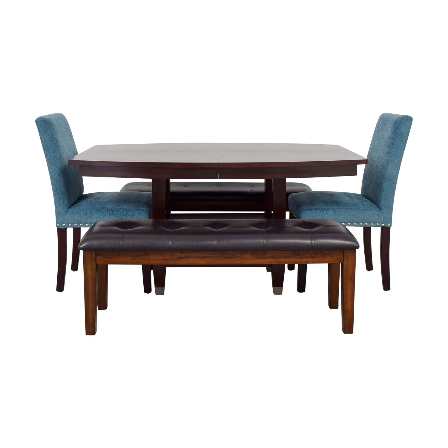 Raymour & Flanigan Raymour & Flanigan Dining Set with Benches and Chairs nj