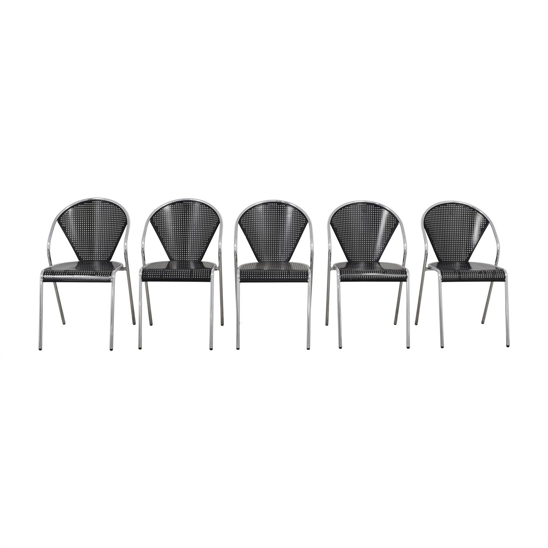 shop Manhattan Home Design Protech Black Steel Stacking Chairs Manhattan Home Design Dining Chairs