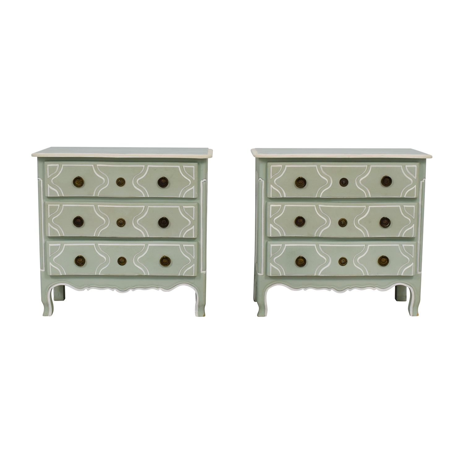 Achicha Sage Green and White Three-Drawer Dressers sale