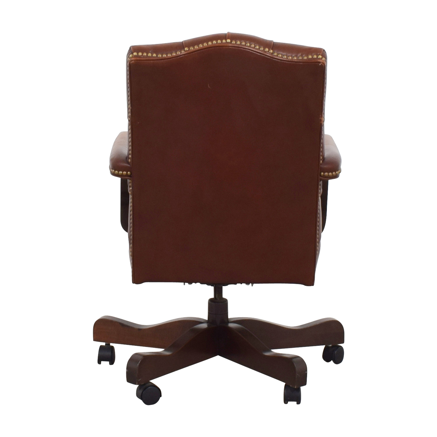 Remarkable 79 Off Ethan Allen Ethan Allen Brown Leather Desk Chair Chairs Pabps2019 Chair Design Images Pabps2019Com