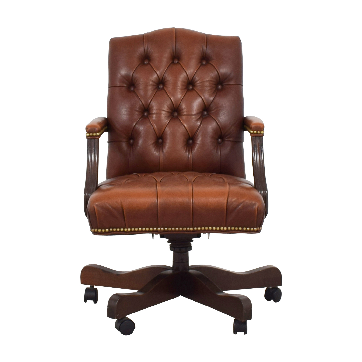 79 Off Ethan Allen Ethan Allen Brown Leather Desk Chair Chairs