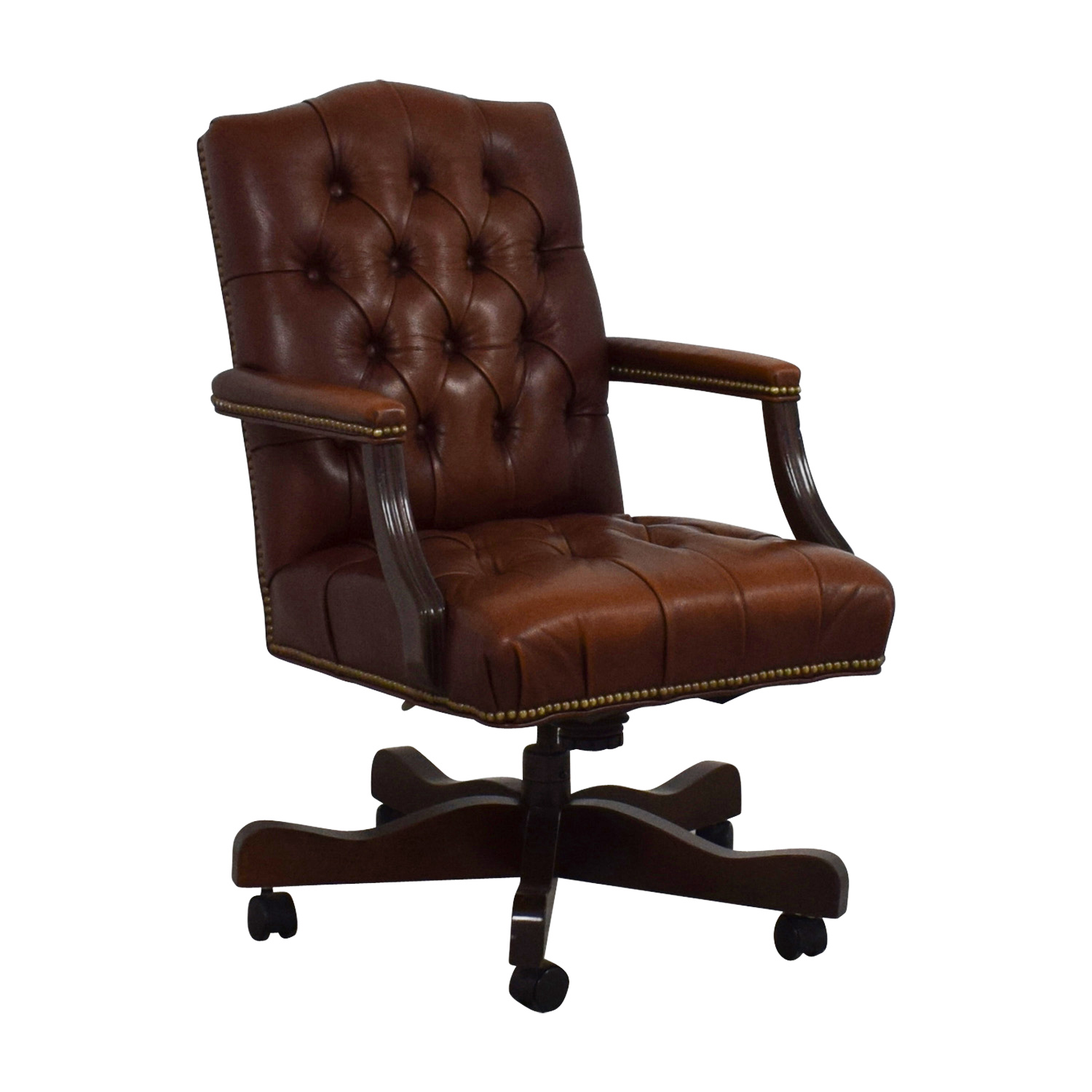 Cool 79 Off Ethan Allen Ethan Allen Brown Leather Desk Chair Chairs Pabps2019 Chair Design Images Pabps2019Com