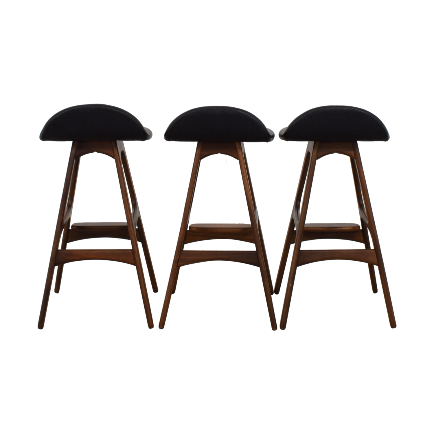 Mid-Century Black Leather Bar Stools nyc