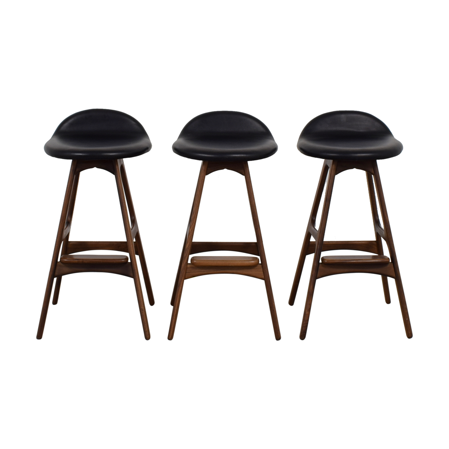 shop Mid-Century Black Leather Bar Stools  Chairs
