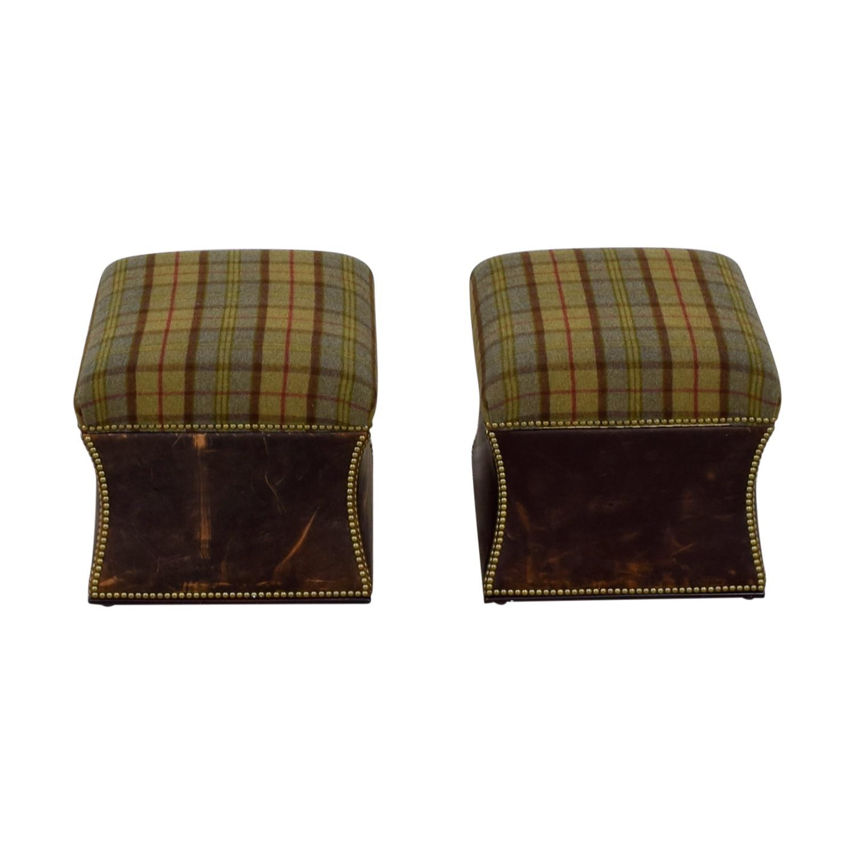 Ralph Lauren Ralph Lauren Tartan Plaid Nailhead Ottomans price