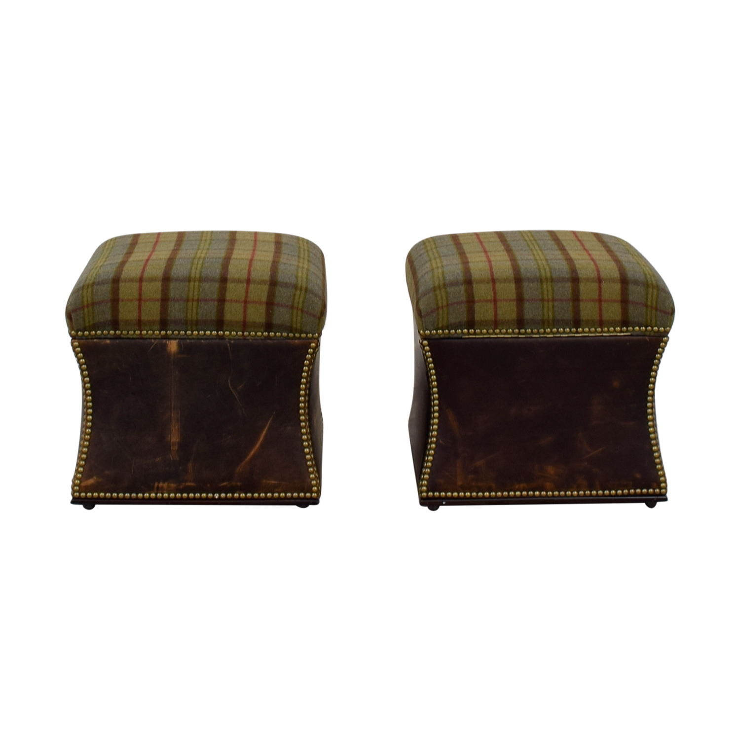 buy Ralph Lauren Tartan Plaid Nailhead Ottomans Ralph Lauren Sofas