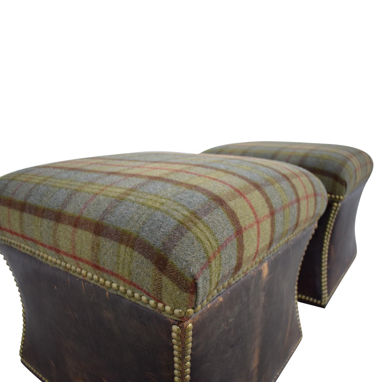 Excellent 83 Off Ralph Lauren Home Ralph Lauren Tartan Plaid Nailhead Ottomans Storage Ncnpc Chair Design For Home Ncnpcorg