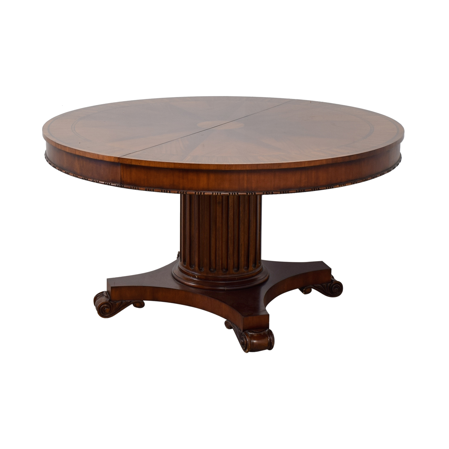 Shop Ethan Allen Round Wood Extendable Dining Table