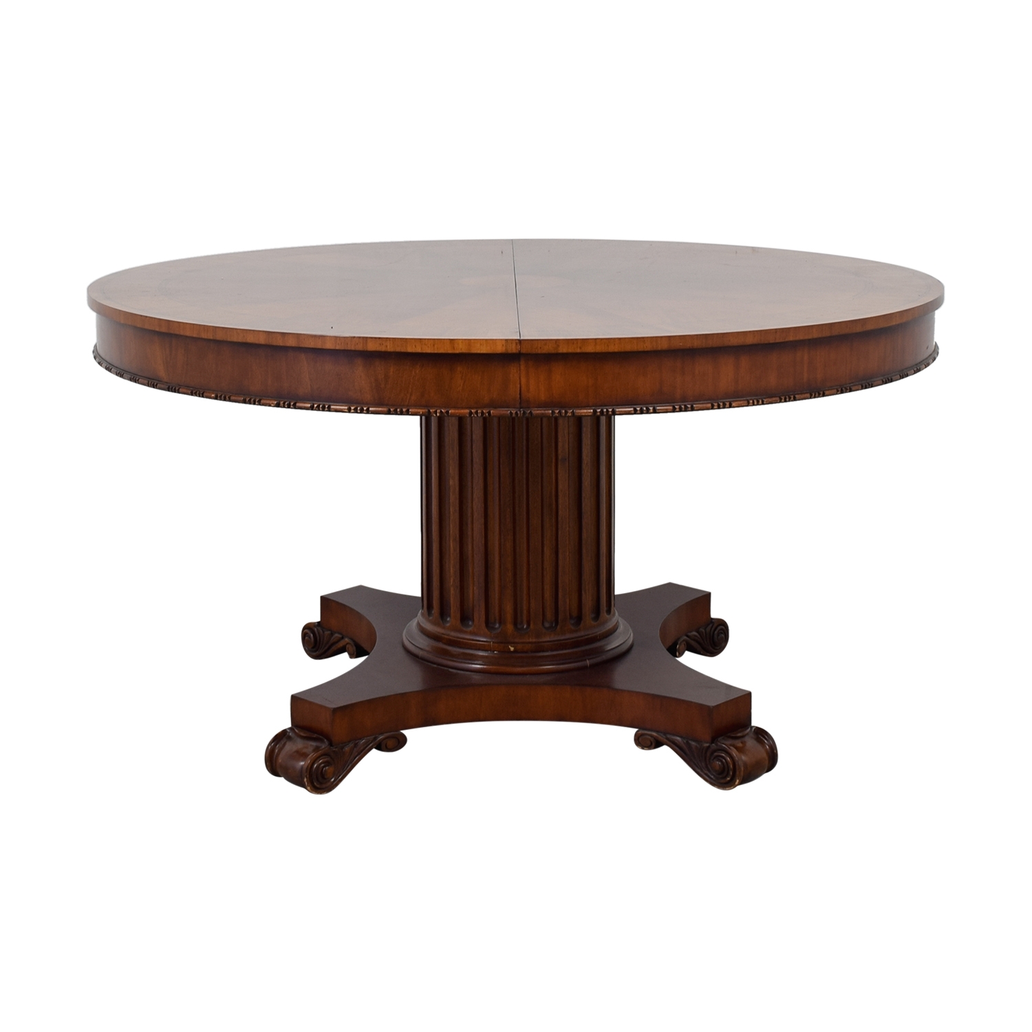 buy Ethan Allen Round Wood Extendable Dining Table Ethan Allen