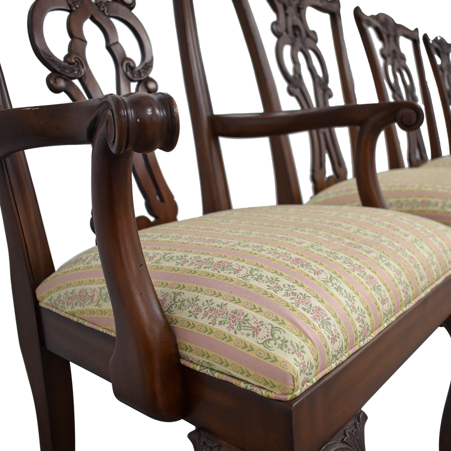 Ethan Allen Brown Wood And Fabric Dining Chairs
