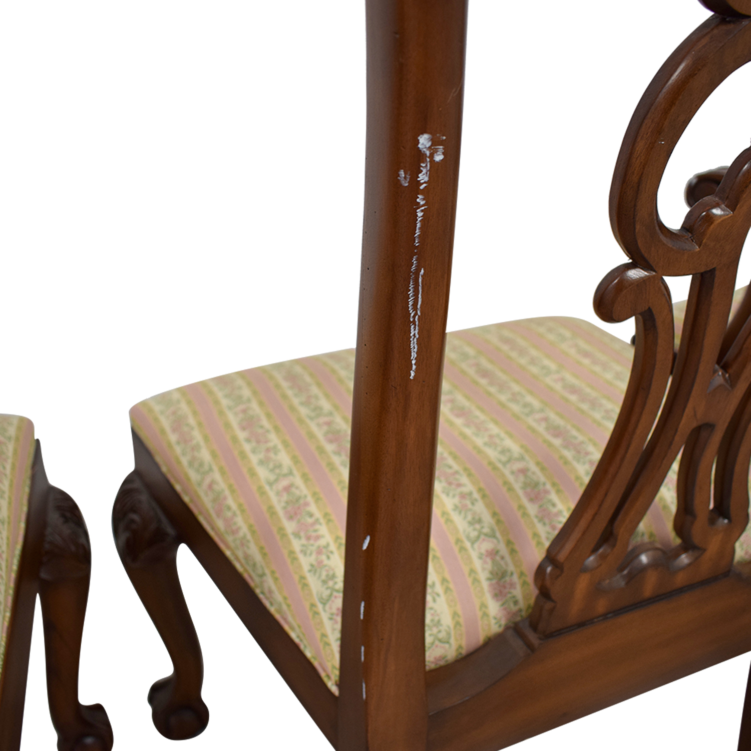 Ethan Allen Brown Wood And Fabric Dining Chairs Used