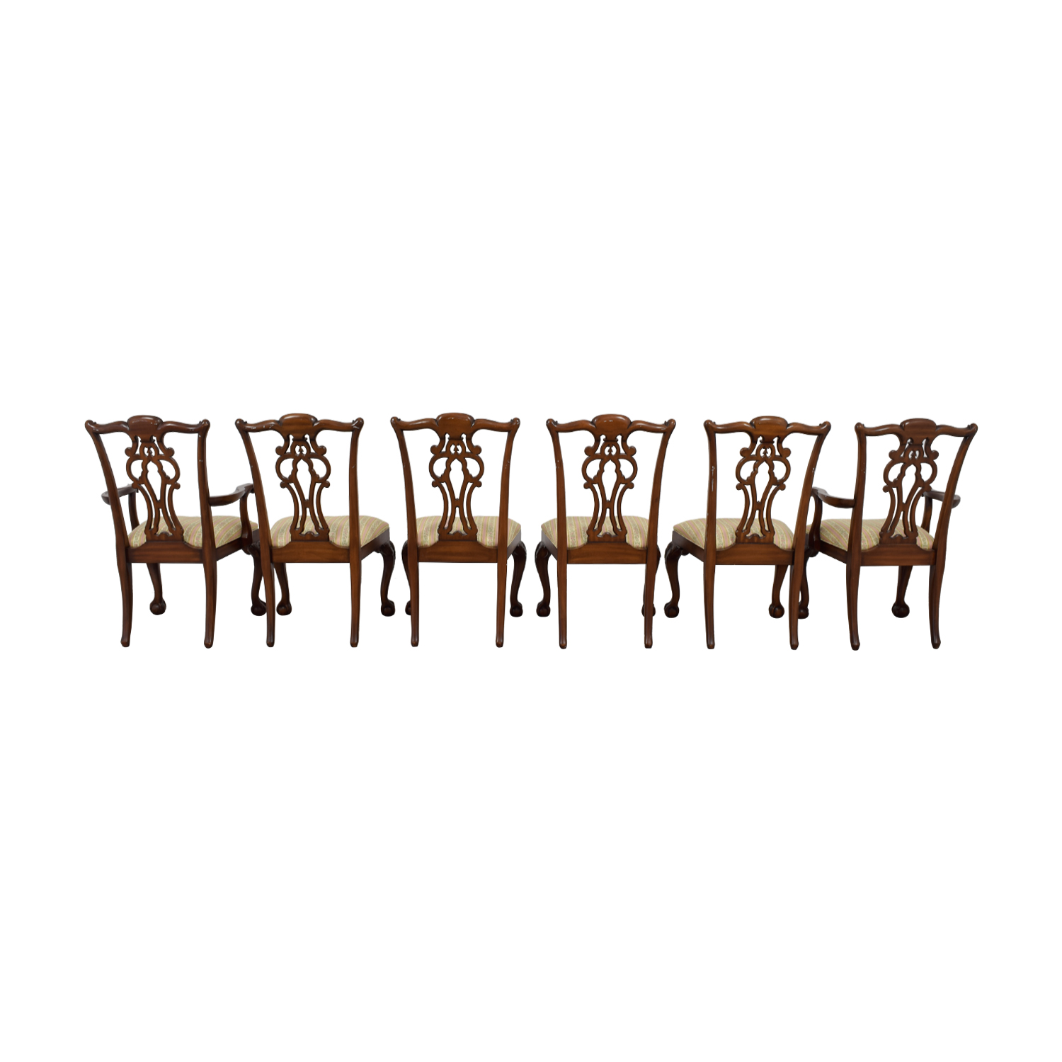 Ethan Allen Ethan Allen Brown Wood and Fabric Dining Chairs for sale