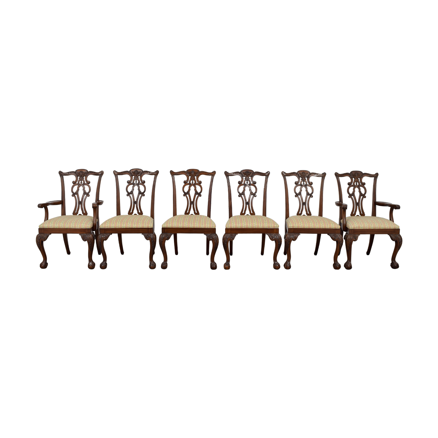shop Ethan Allen Brown Wood and Fabric Dining Chairs Ethan Allen