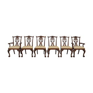 Ethan Allen Brown Wood and Fabric Dining Chairs sale