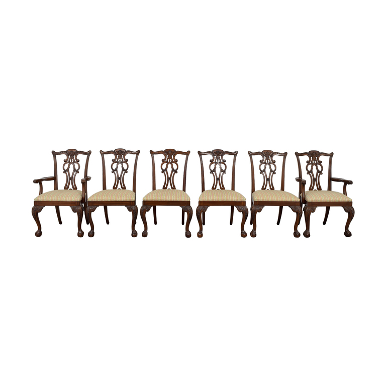 Ethan Allen Ethan Allen Brown Wood and Fabric Dining Chairs discount