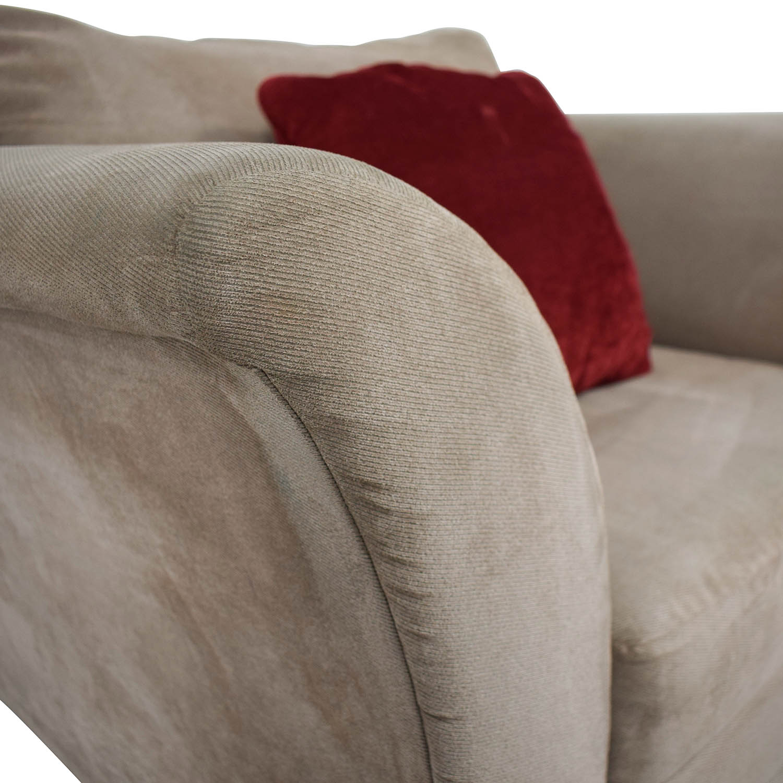 Jennifer Convertibles Pink Sofa Chair & Ottoman / Chairs