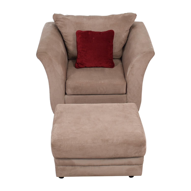 Jennifer Convertibles Pink Sofa Chair & Ottoman Jennifer Convertibles