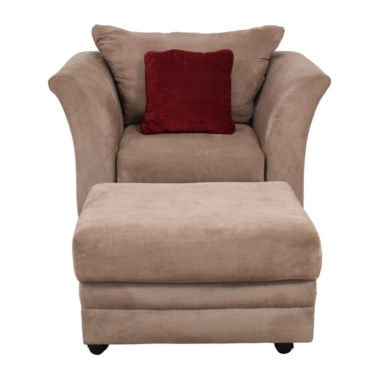 Jennifer Convertibles Jennifer Convertibles Pink Sofa Chair & Ottoman on sale