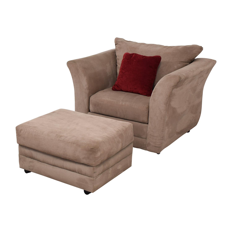 shop Jennifer Convertibles Jennifer Convertibles Pink Sofa Chair & Ottoman online