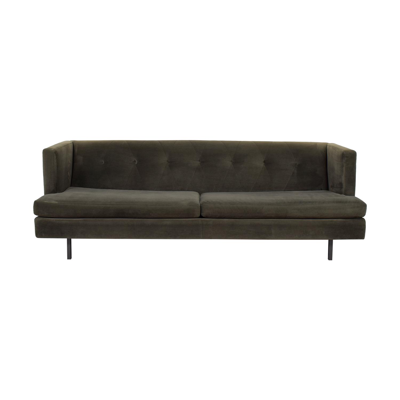 CB2 CB2 Avec Grey Velvet Sofa dimensions