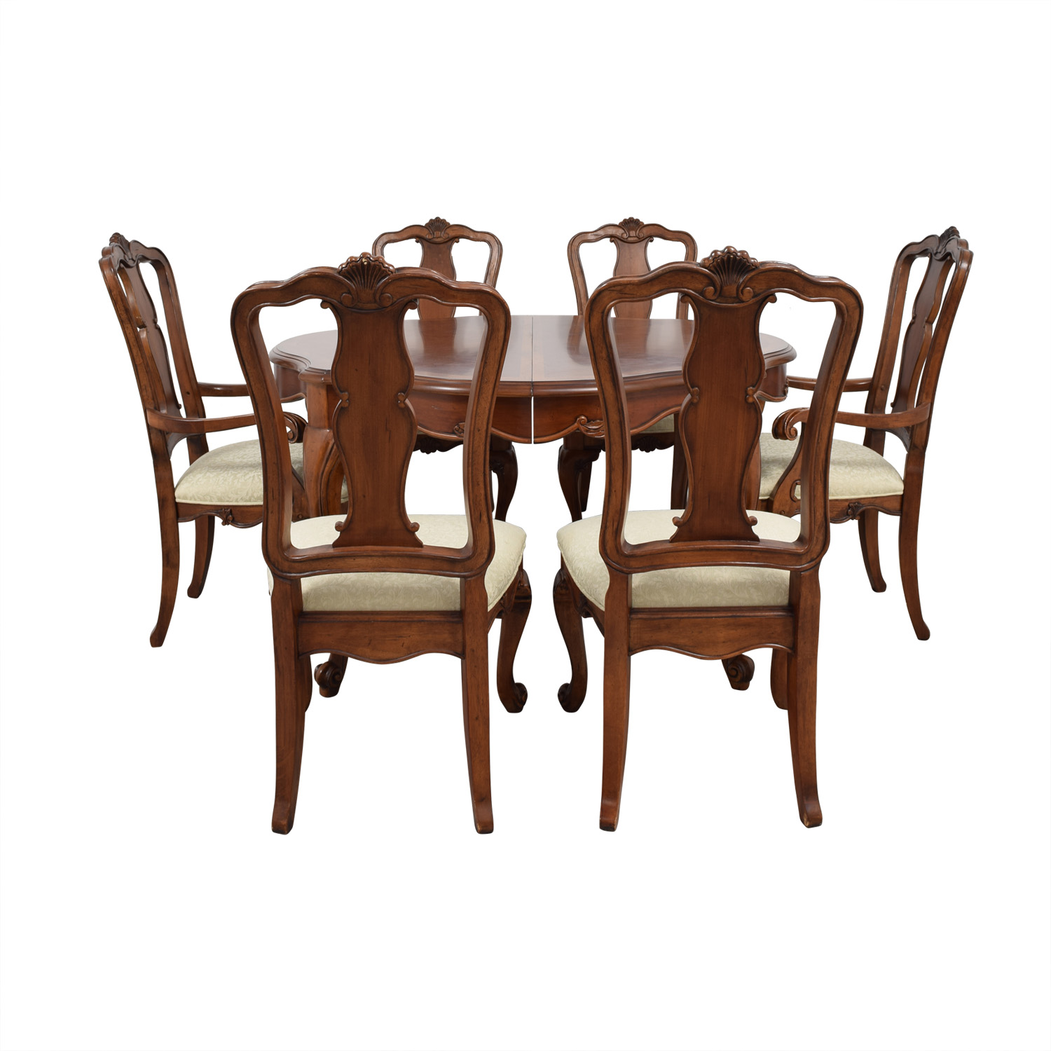 Macy's Macy's Dovetailed Wood Extendable Dining Set Chairs