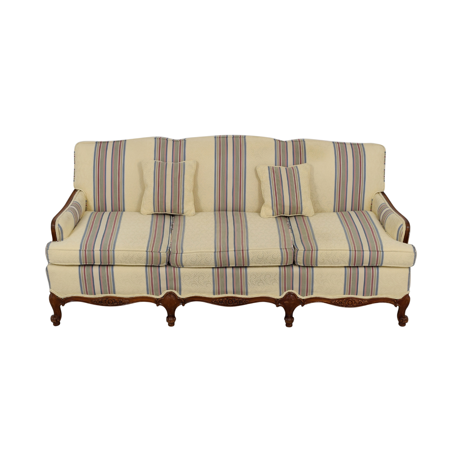 Beige Multi-Colored Striped Three-Cushion Couch for sale