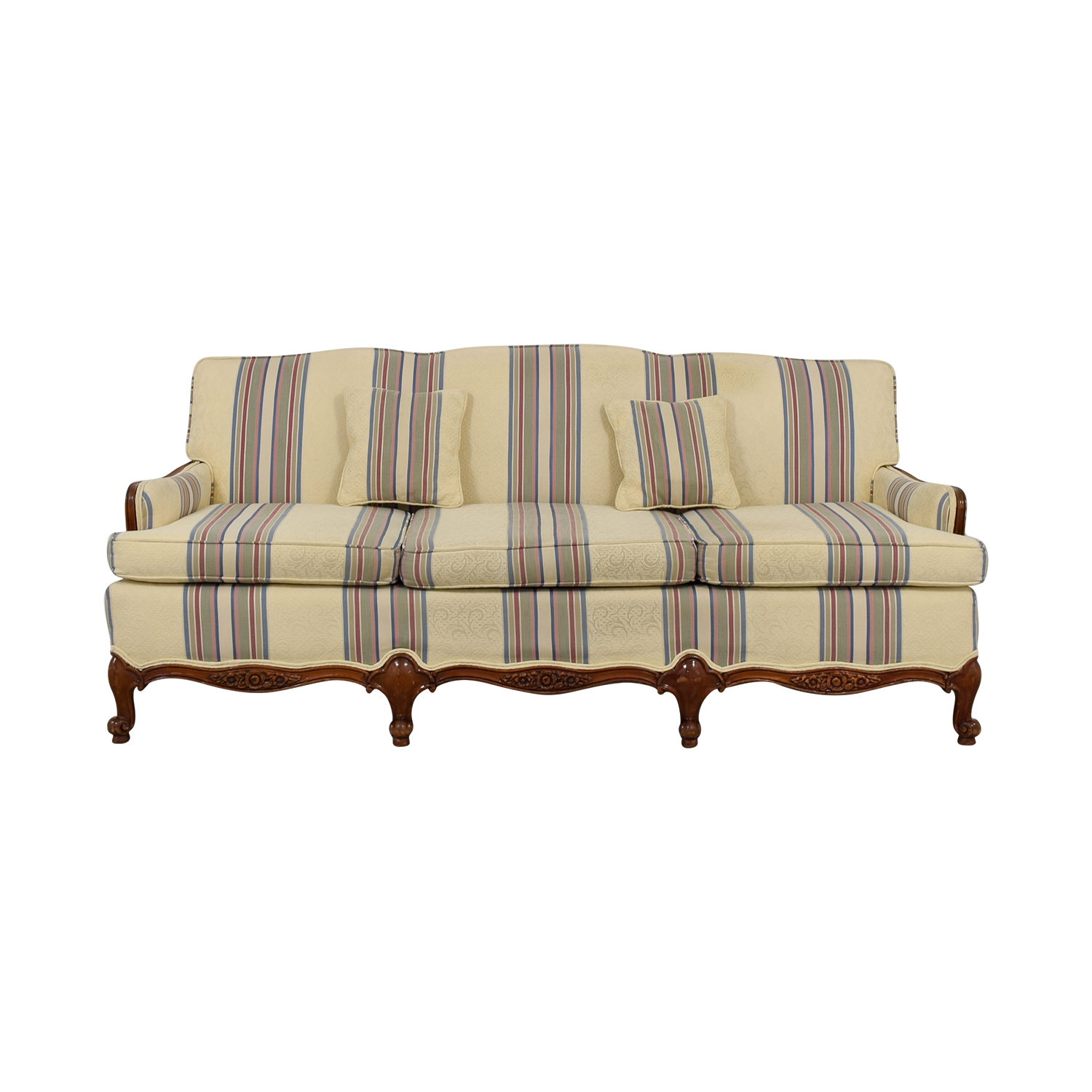 buy Beige Multi-Colored Striped Three-Cushion Couch  Classic Sofas