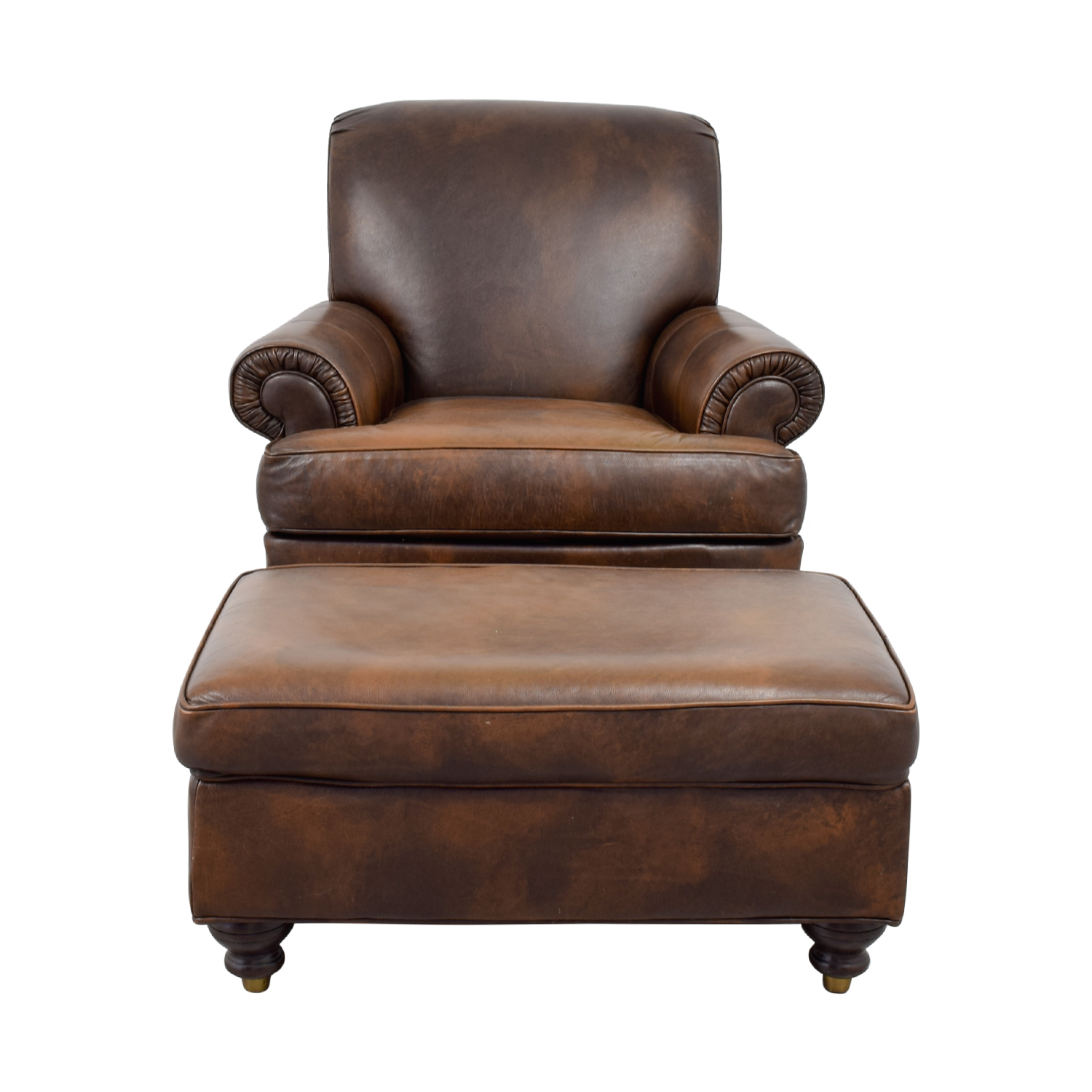 Peachy 84 Off Ethan Allen Ethan Allen Brown Leather Chair Ottoman Chairs Dailytribune Chair Design For Home Dailytribuneorg