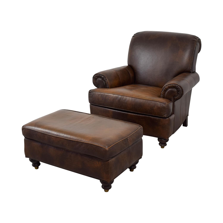 Superb 84 Off Ethan Allen Ethan Allen Brown Leather Chair Ottoman Chairs Short Links Chair Design For Home Short Linksinfo