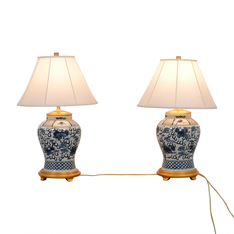 53 Off Ralph Lauren Home Ralph Lauren Twin Asian Blue White Lamps Decor