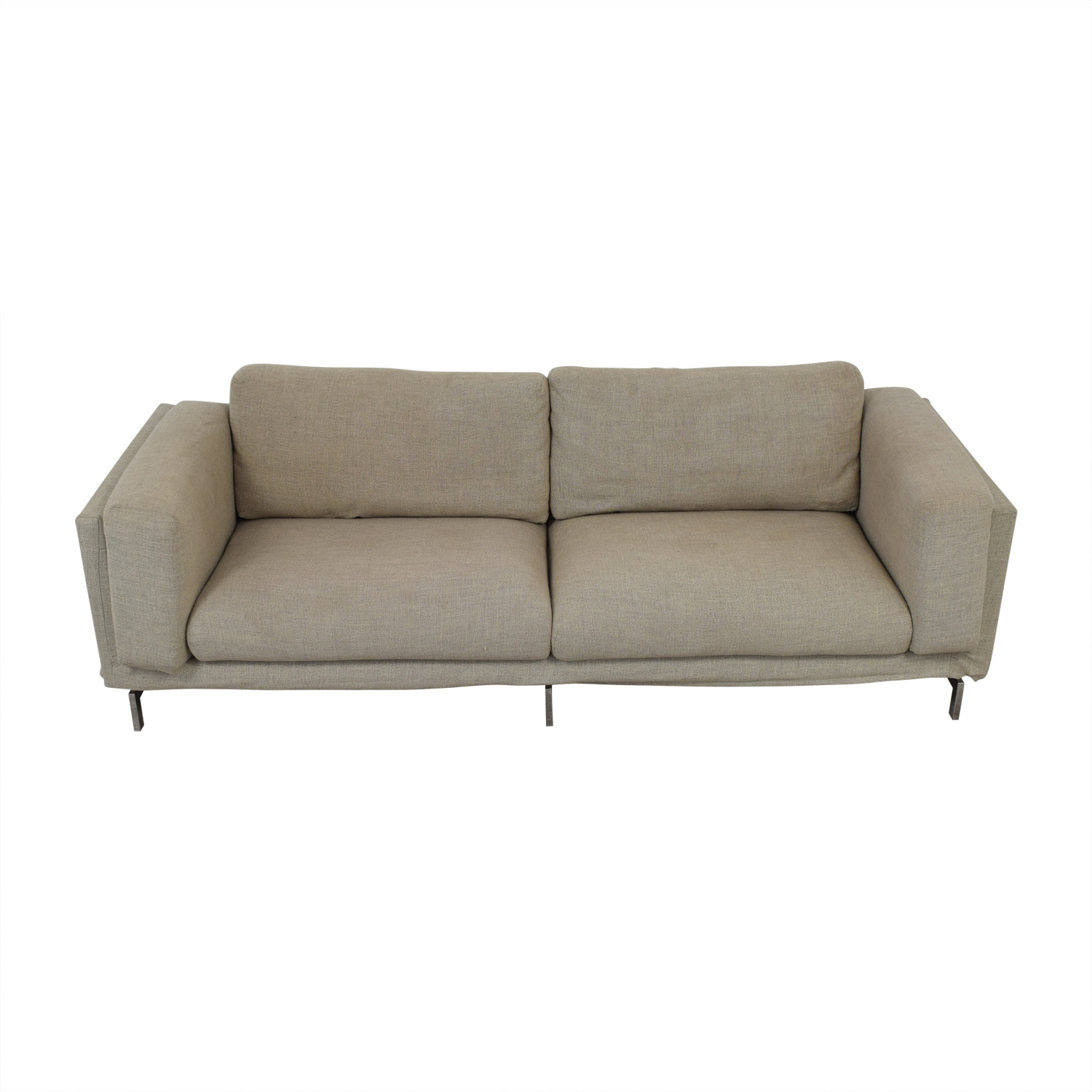 shop IKEA Grey and Beige Tweed Two-Cushion Sofa IKEA Sofas