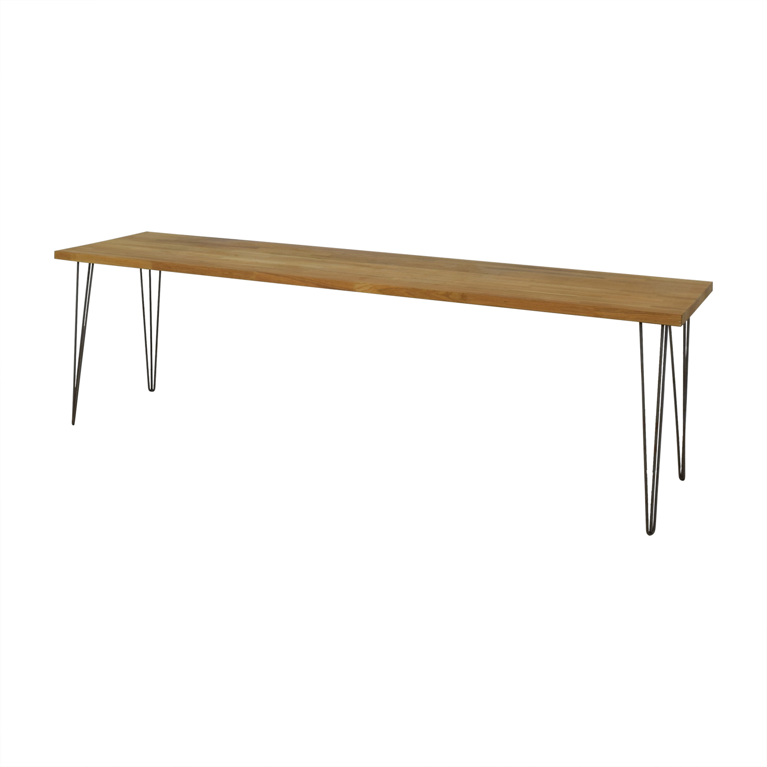 Custom Hazelnut Wood Table with Triangular Steel Legs Tables