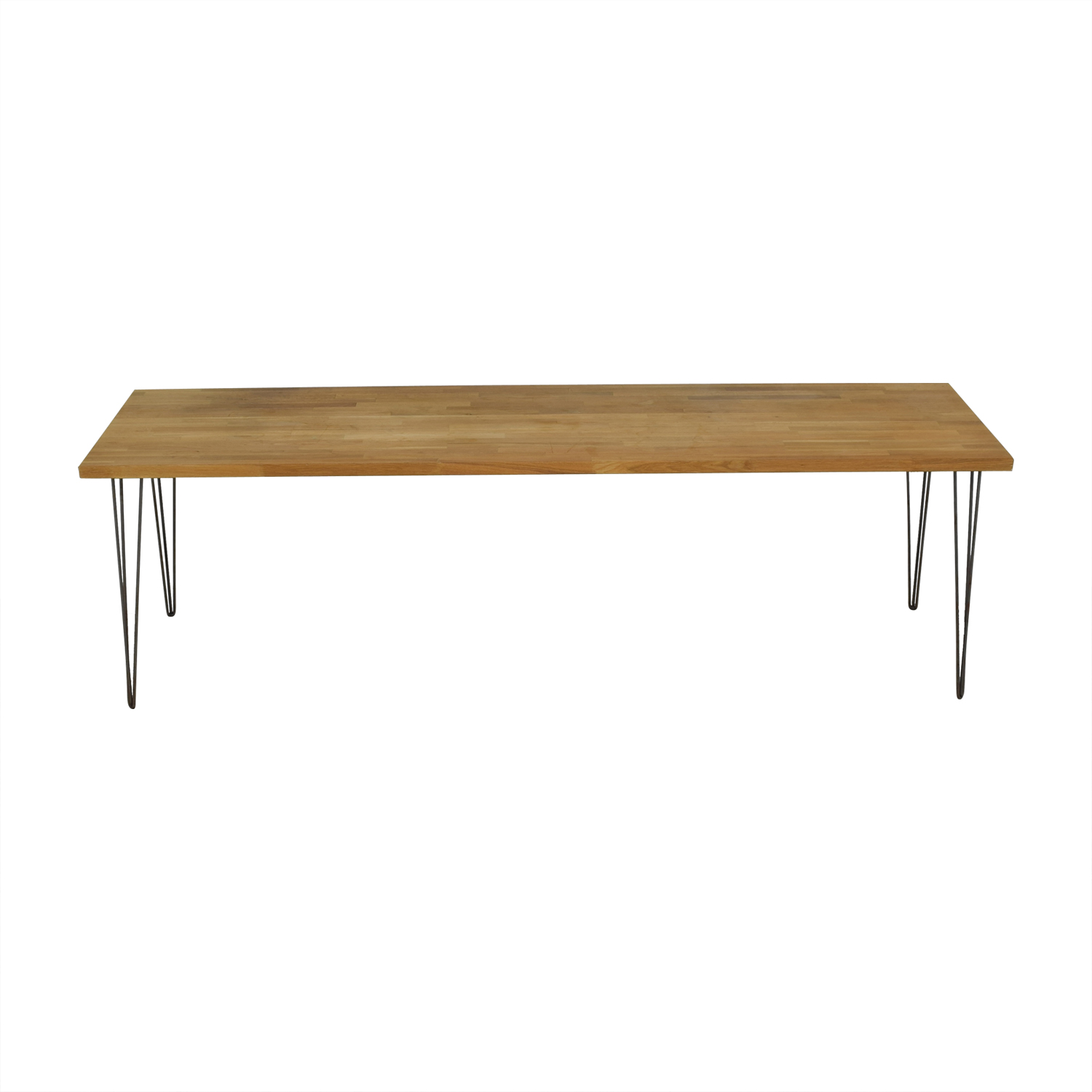 Custom Hazelnut Wood Table with Triangular Steel Legs used