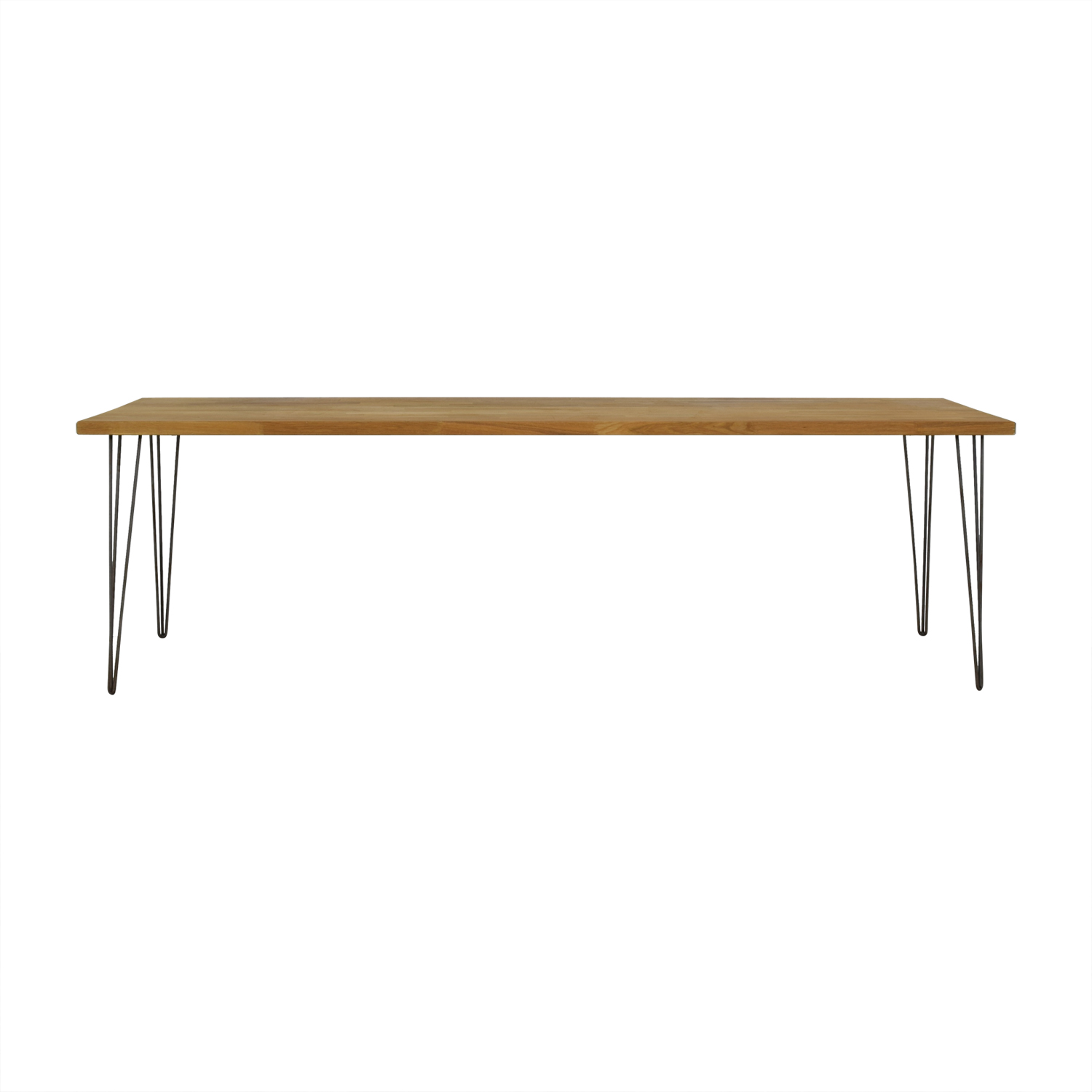 Custom Hazelnut Wood Table with Triangular Steel Legs / Tables